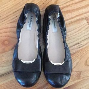 LK Bennett black leather flats with stretchy band